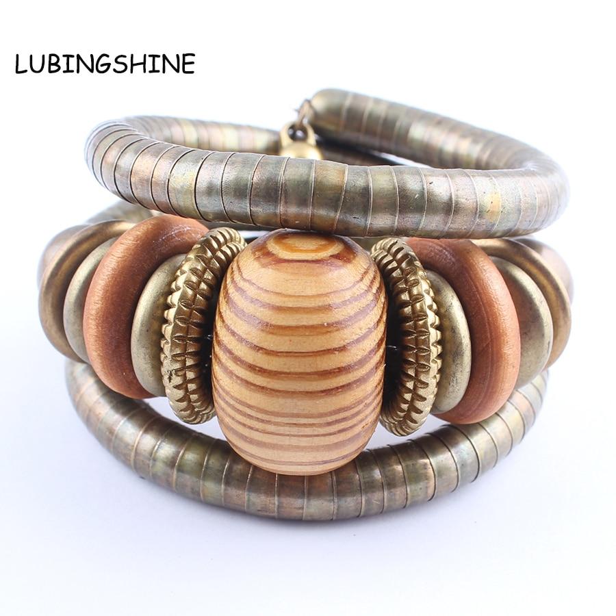 2017 Multicouche Femme Bracelet Alliage Serpent Chaîne Perles En Bois Bracelets et Bracelets Pour Les Femmes Vintage Bijoux pulseiras JJAL B591