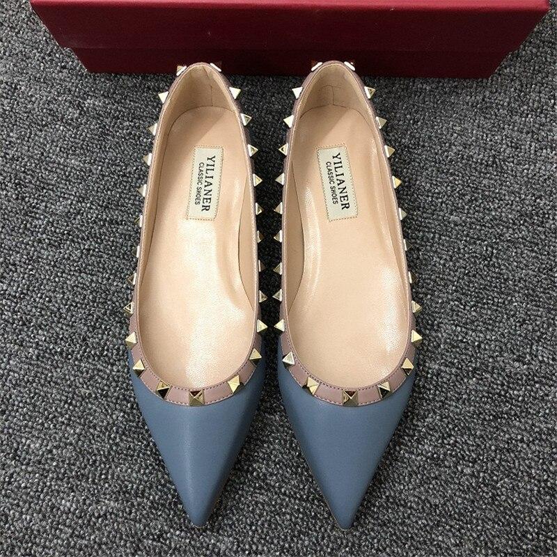Chaussures en cuir véritable femmes designer chaussures femmes luxe 2018 bout pointu appartements femmes sans lacet de haute qualité taille 34-40