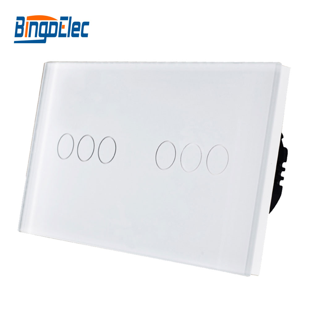 Bingoelec European Wall Switch 6 Gang 1 /2 Way Luxury Tempered White Black Gold Glass Panel Touch Light Switch, AC110-250V