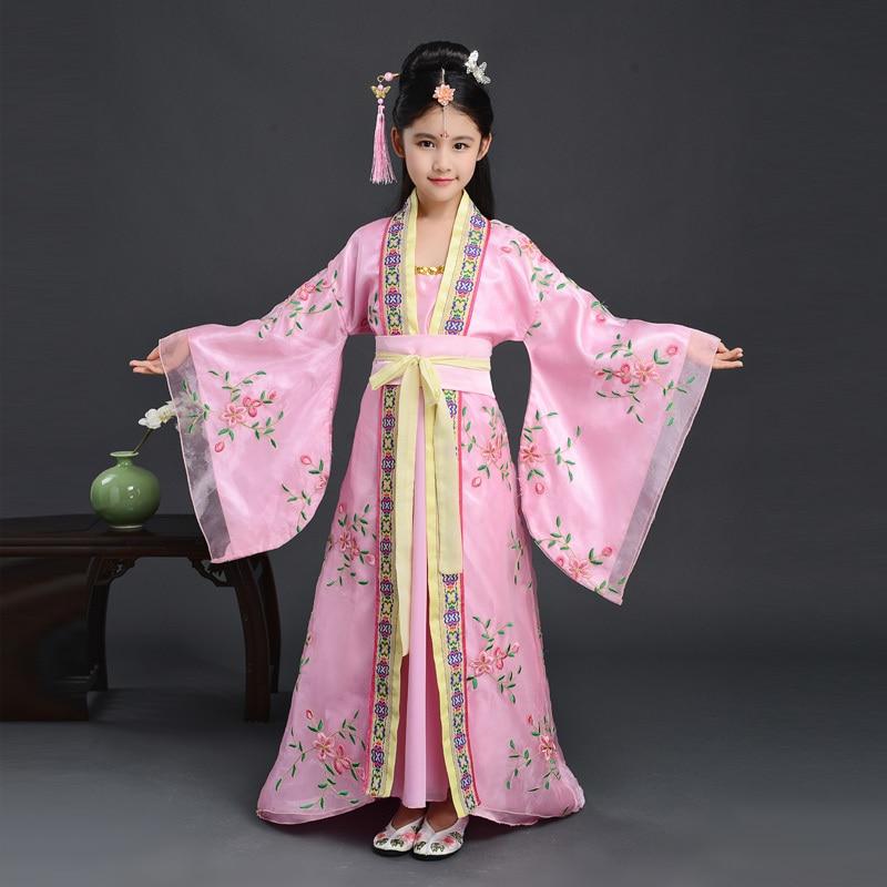 Древняя опера династии Тан Хан мин ребенок ханьфу платье Традиционный китайский народный танец танцевальные костюмы одежда для девочек Дети - Цвет: Pink