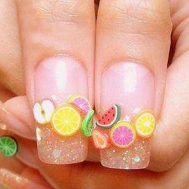Hot New 12 Styles Box Special Design Fruit Style Polymer Clay Nail Art Piece Women Make Up Tools 2018 Random Color In Stickers Decals From