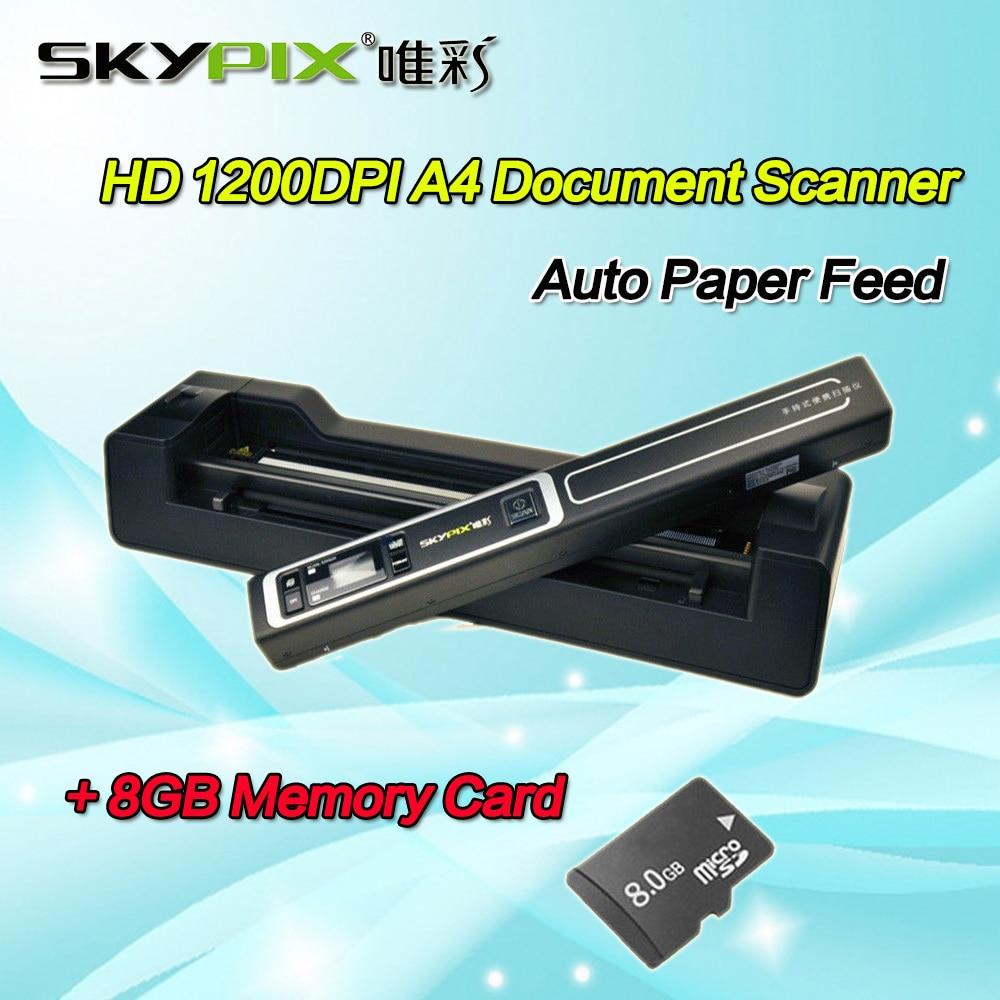 Skypix TSN450+A02 Auto Scanner A4 Size JPEG/PDF Image Document Scanner 1200 DPI HD A4/A5 Portable Scanner W/8GB MicroSD Card skypix tsn470 a02 hd 1050dpi portable a4 document scanner jpg pdf file scanner with stand and free 8gb sd card