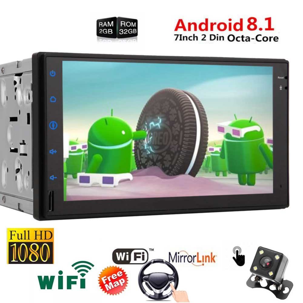 Radio with Mirrorlink Airplay support Fast Boot Video Out GPS Navigation Bluetooth Wifi OBD2/4G Android 8.1 Oreo Touch Screen