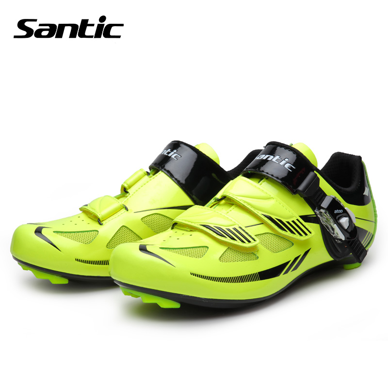ФОТО Santci Men Cycling Shoes Nylon TPU Soles Road Bike Breathable Bicycle Athletic Self-Locking Shoes Zapatos Ciclismo