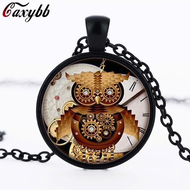 Steampunk owl clock pendant personality necklaces charms silver steampunk owl clock pendant personality necklaces charms silver round glass dome pendant jewelry ftc n323 mozeypictures Images
