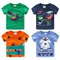 2016 verano ropa de los niños del niño Del Bebé niños de manga corta del o-cuello de dibujos animados camiseta animal Dinosaurio Pingüino Perro león pulpo