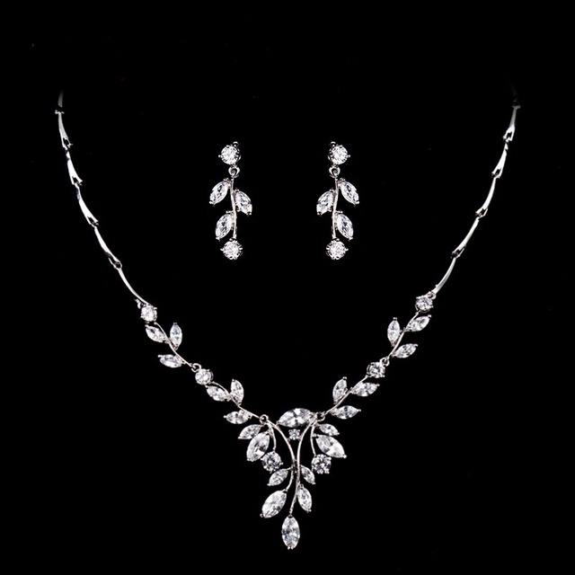 Sparkling Clear Cubic Zirconia Marquise Leaf Design Zircon CZ Necklace Earring Bridal Jewelry Set for Wedding