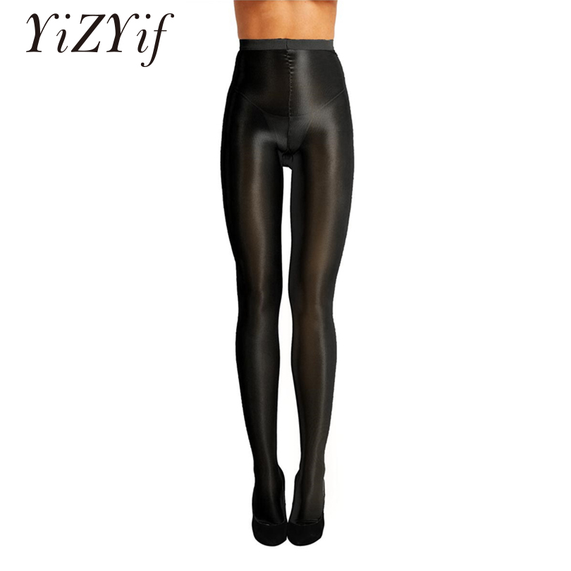 YiZYiF Women Control Top Ultra Shimmery Stretch 70D Thickness Footed Silk High Waist Oil Shiny Pants Women Sexy Tights Women