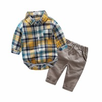 Spring Fall New Lattice Suit For Boys 2 Colors Long Children Boys Clothes 2pcs Pretty Gentleman