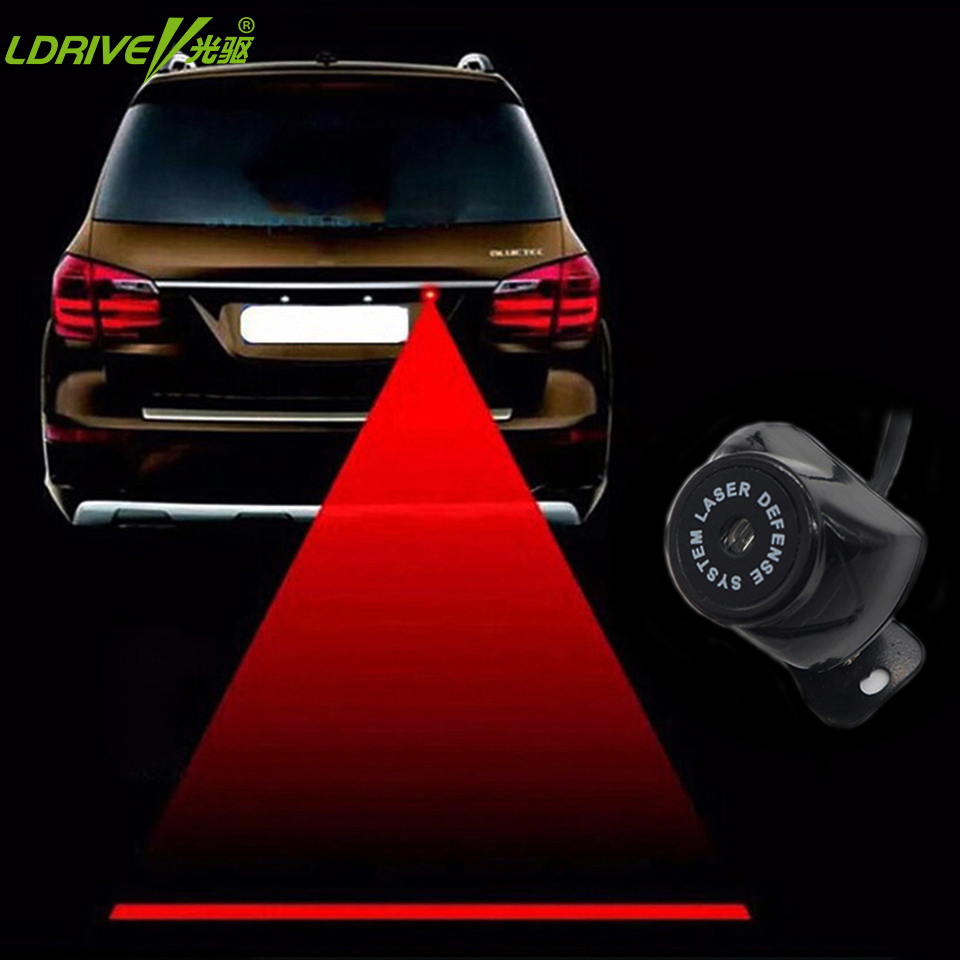 LDRIVE 8-36V all Car Laser Fog Lights Rear Anti Collision Car Styling Auto Brake Parking Signal Indicators Red Warning Light цена и фото