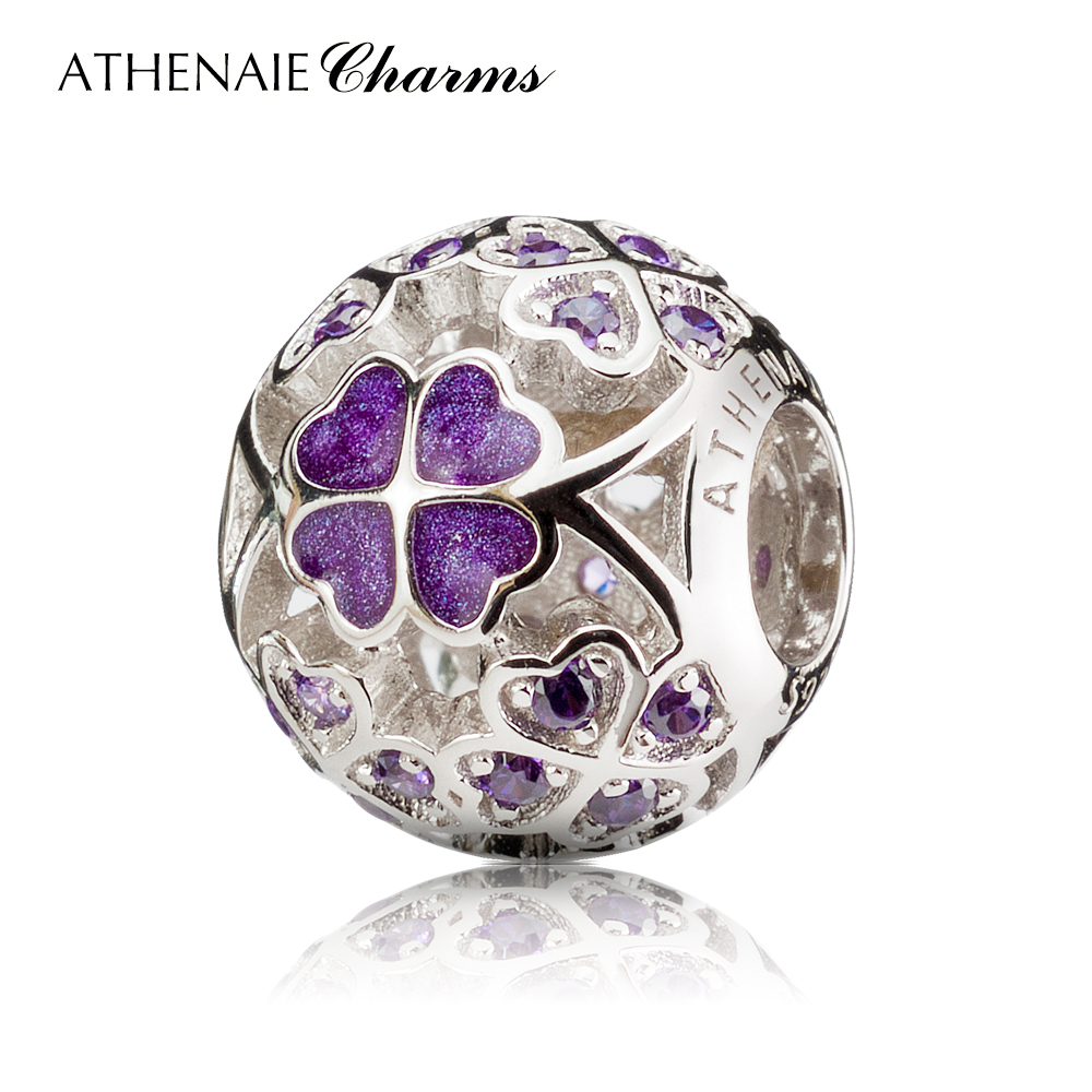 ATHENAIE 925 Sterling Silver Enamel Lucky Shamrock Best Wishes to You Charm Beads Fit European Bracelets Necklace Color Purple