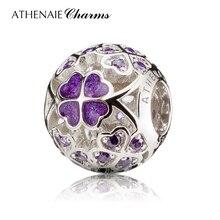ATHENAIE plata esterlina 925 esmalte trébol de la suerte los mejores deseos para usted encanto cupieron las pulseras europeas collar de Color púrpura