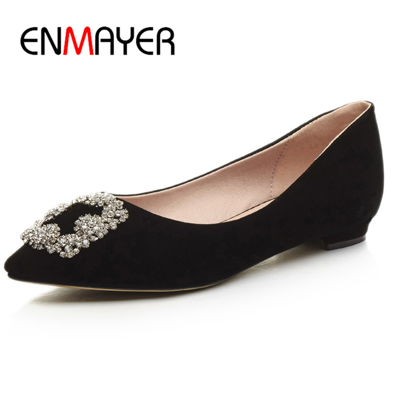 ENMAYER Classic Black Poined Toe Sexy Dress Shoes Woman Flats Shallow Loafers Plus Size 43 Chaussure Femme Crystal Charms Flats enmayer pointed toe summer shallow flats slip on luxury brand shoes women plus size 35 46 beige black flats shoe womens