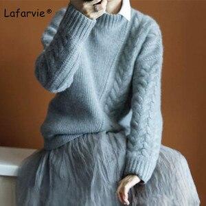 Image 1 - Lafarvie Mới Thu Đông Nữ Áo Len Và Áo Thun Cổ Cao Cổ Rời Dày Đan Cashmere Áo Len Nữ Ấm Chất Lượng Cao
