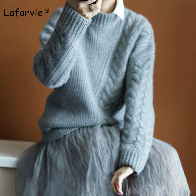Lafarvie New Autumn Winter Women Sweaters And Pullover Turtleneck Loose Thick Knitting Cashmere Sweater Female Warm High Quality