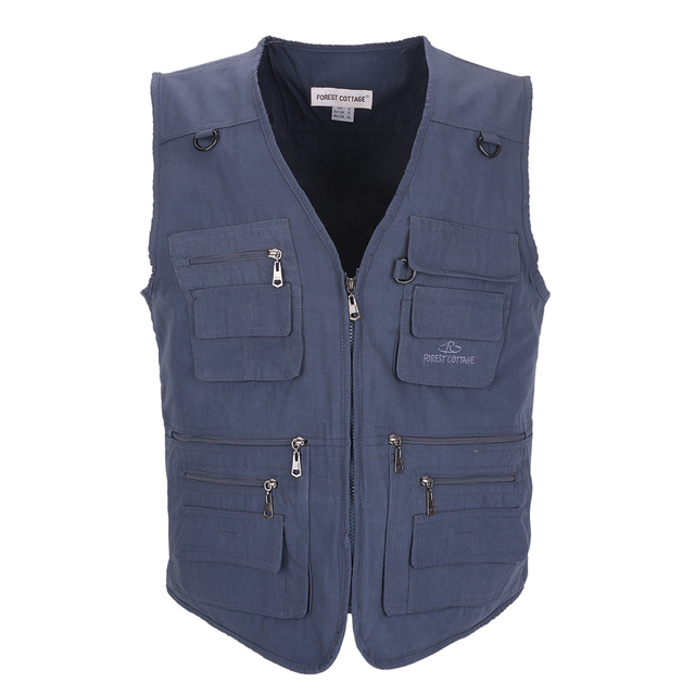 2017 Mens Clothing Causal Travels Vest With Multi-pockets Men Vest Regular photography Solid Cotton Vest Men Plus Large Size 5XL