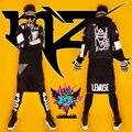 Cantante masculino Hombres DJ club sguests conjunto red de malla negro Con Capucha de cobertura icono hip-hop chaqueta corta trajes