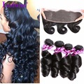 Peruvian Loose Wave With Frontal Closure Ear To Ear Lace Frontal Closure With 3 Bundles Peruvian Virgin Human Hair With Closure