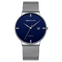 Mens Business Waterproof Stainless Steel Mesh Wrist Watch