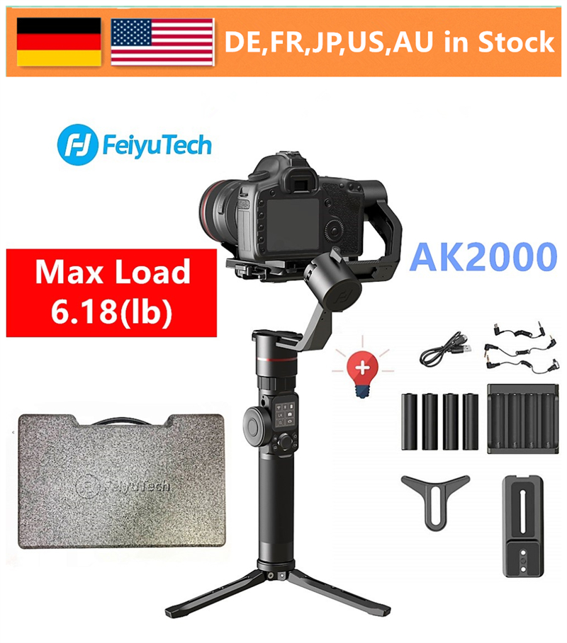 FeiyuTech Feiyu AK2000 3-Axis Handheld Camera Stabilizer Gimbal for Sony Canon 5D 6D Mark Panasonic GH5 Nikon D850 2.8kg Payloa feiyutech feiyu ak2000 3 axis handheld camera stabilizer 2 8kg loading gimbal for sony canon 5d 6d mark panasonic gh5 nikon d850
