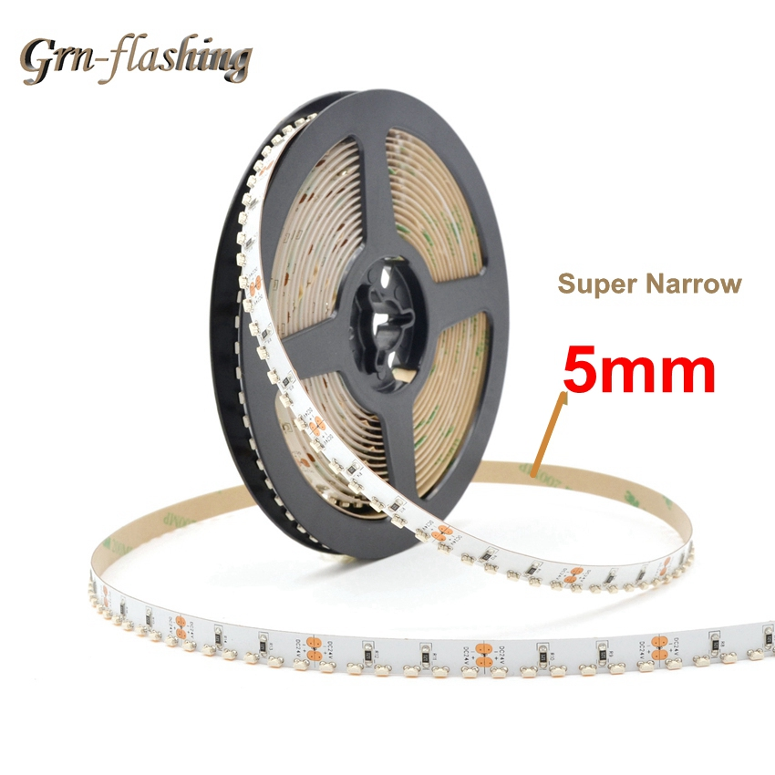 DC 12V 120led/m Side Emitting LED Strip SMD335 5mm Width Narrow PCB LED Tape Lights For Home TV Backlight Living Room Decoration
