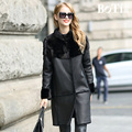 Brand Besty Long Slim Shiny Women Real Natural Full Pelt Double-Faced Sheepskin Fur Coat with real mink fur collar or shawls