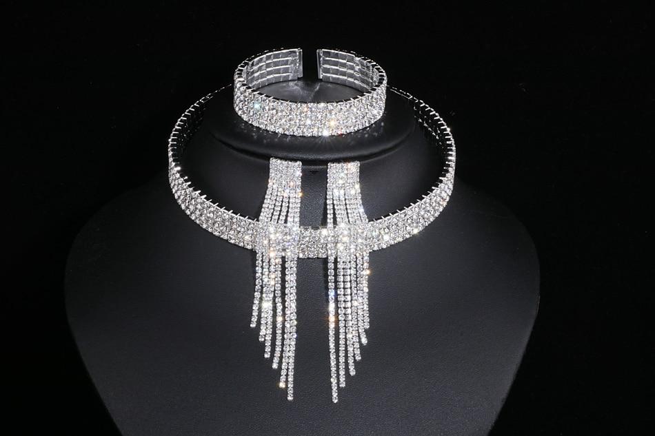 IMG_4765 - Classique, élégant Gland Cristal, Collier De Mariage, Boucles D'oreilles,