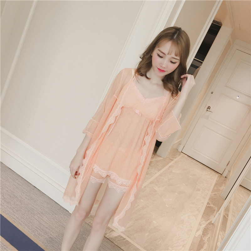 Sexy Three-piece Silk Chiffon Lace Gauze Feamle Transparent Hot Sell Fashion Sling Lingerie Pajamas Free Shipping