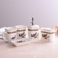 Wedding Decoration Gift Bathroom Accessories Toothbrush Holder Fashion Ceramic 5 Pieces Wash Set Bathroom Supplies Free Shipping