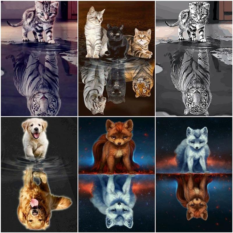 LZAIQIZG 5D Diamond Painting Cat Tiger Full Square Round Diamond Embroidery Cats Diamond Mosaic Animals Pictures Of Rhinestones