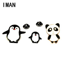 Contracted handsome sprout of lovely panda black suit penguin couples delicate white and black pins pin badges