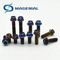 4 개 M6 M8 오토바이 Ti 볼트 티타늄 볼트 DIY 불에 블루 컬러 모터 자전거 육각 중공 플랜