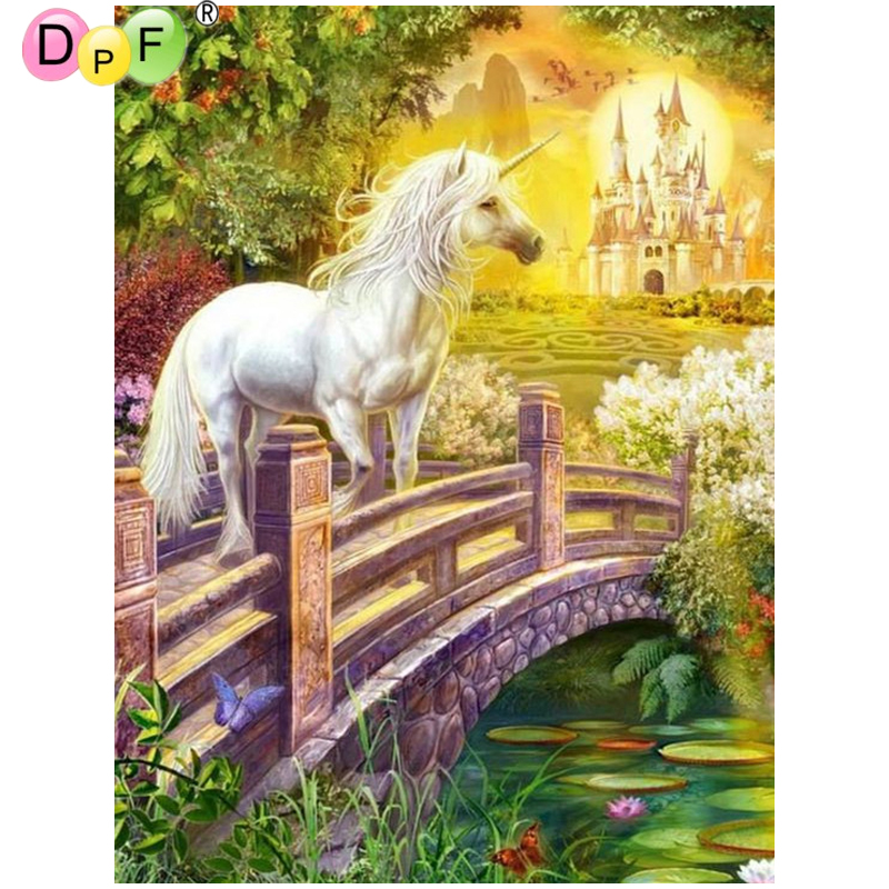DPF DIY White horse bridge 5D mosaic full square crafts wall painting crafts diamond painting cross stitch diamond embroidery