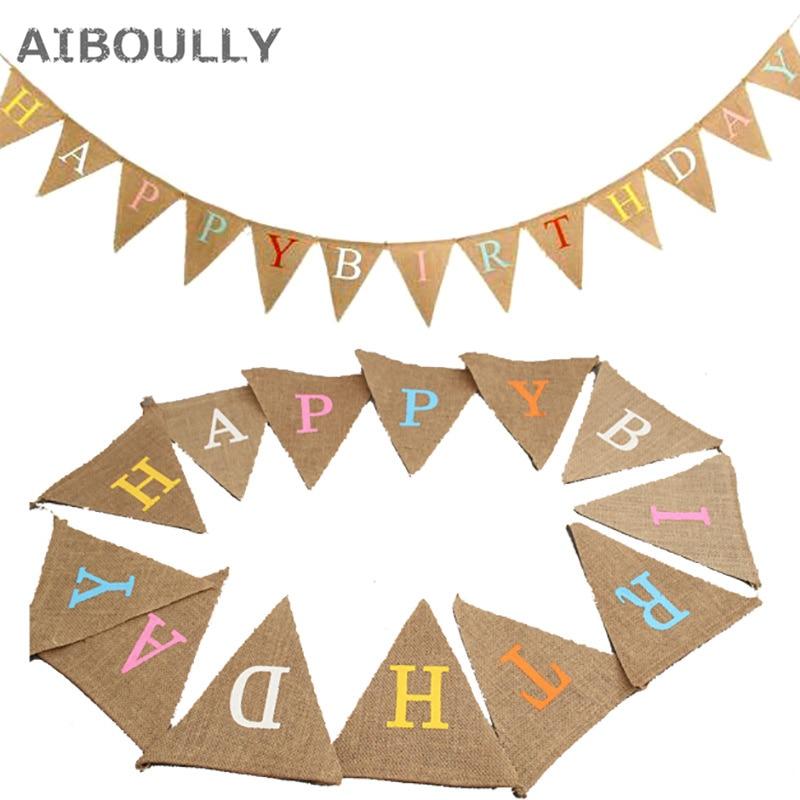 13 플래그 3.2m 긴 천으로 생일 축하 파티 파티 생일 배너 장식 생일 장식 베이비 샤워 린넨 삼각형 플래그
