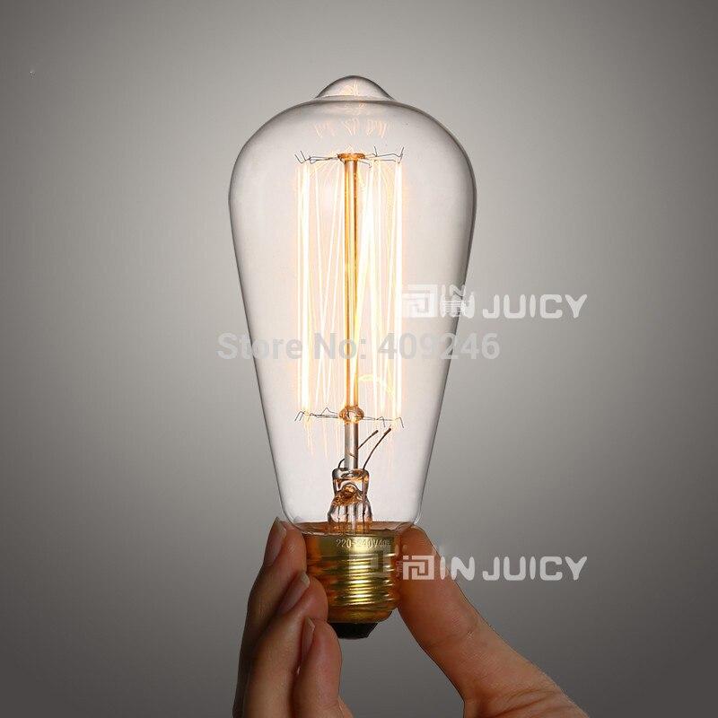 Marconi Style Ampoule Lampe Vintage Edison Reproduction 40 Watt 60 Watt Verre Clair Feux D'artifice E27 ST64 AC110V Ou 220 V