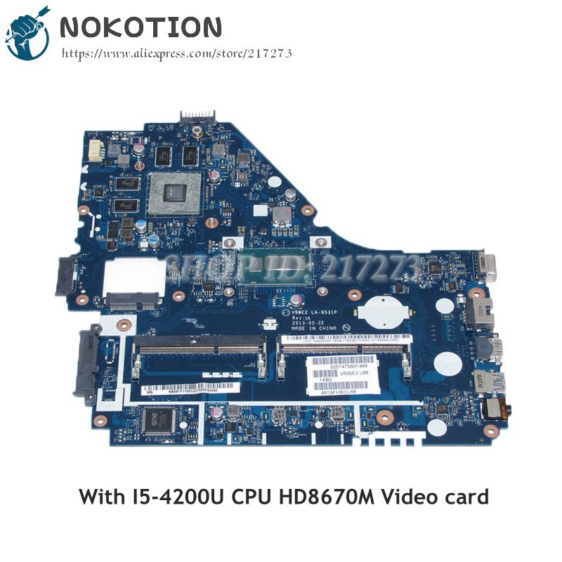 NOKOTION V5WE2 LA-9531P NBMFP11005 For Acer aspire E1-572 E1-572G Laptop Motherboard i5-4200U CPU DDR3L HD8670M Video card