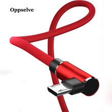 Oppselve Micro USB Cable Fast Charge USB Cord 90 Degree Elbow Nylon Braided Data Cable For Samsung Xiaomi Android Mobile Phones 90 degree right double elbow micro usb male charge data cable bend left retractable spring line for samsung android mobile phone