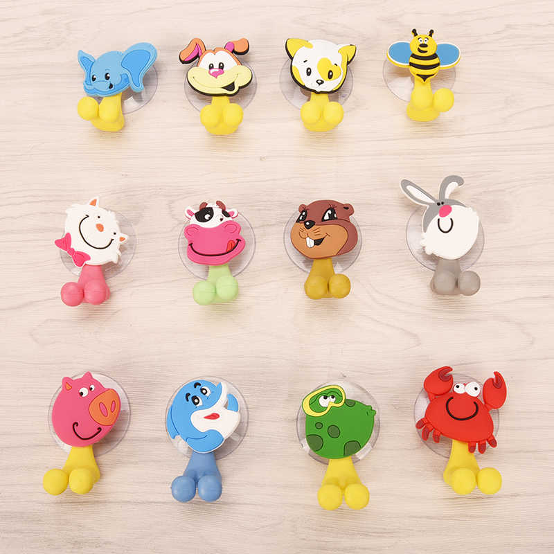 1PC Animal Cute Cartoon Animals Suction Cup Toothbrush Holder Bathroom Accessories Set Wall Suction Holder Tool 12Styles