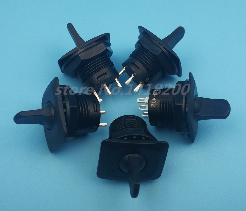 Free shipping 5Pcs Black R13-402 Momentary (ON)-OFF-(ON) 3Pin 3Position Round Toggle Switch SPDT 5pcs lot high quality 2 pin snap in on off position snap boat button switch 12v 110v 250v t1405 p0 5