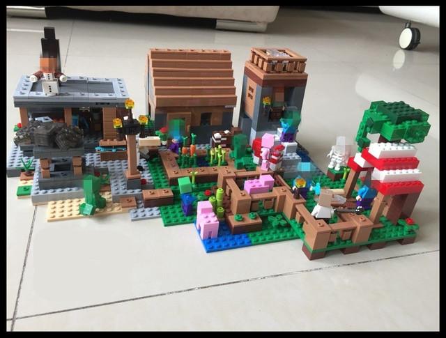 2017 nueva minecraft village 1106 unids la aldea conjunto bloques de construcción para niños juguetes para niños de cumpleaños