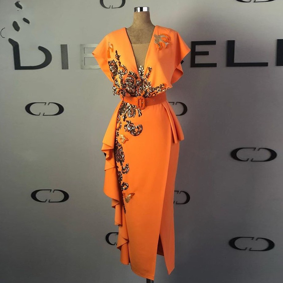 Gold Lace Appliques Evening Dresses V Neck Sheath Evening Gowns Orange Party Dress Slit Sequins Formal