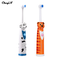 CkeyiN 2Pcs Battery Operated Electric Toothbrush 4 Brush Heads Sonic Revolving Tooth Brush Automatic Rotary Kids