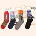 Harajuku meias impressão meias Noite Estrelada de van gogh Pintura A Óleo de Arte mural meias para homens e mulheres