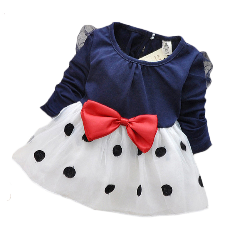 Baby girl dress New 2017 dresses for girls newborn children bow knot cotton long-sleeved princess dress baby above knee clothes