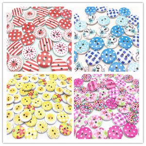 100pcs 15mm Pink Blue Red Yellow Black Mixed Wood Buttons Sewing 2 Holes Round Decorative Button For Scrapbooking DIY Crafts