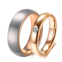 6mm / 4mm Rose Gold Color Tungsten Carbide Couple Rings for Men Women CZ Engagement Wedding Jewelry Valentine's Day
