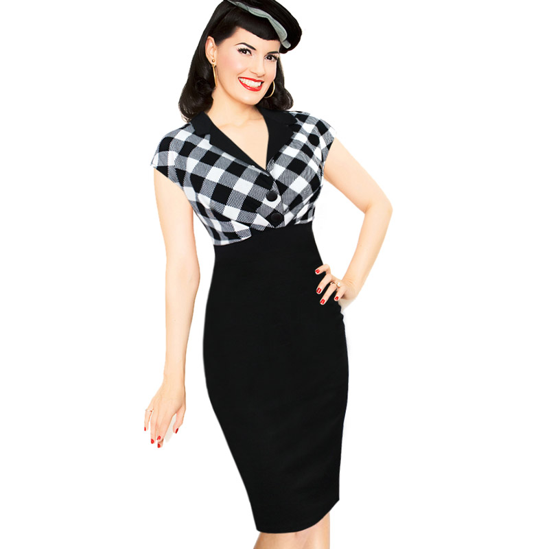 Vfemage Womens Summer 1950s Vintage Pinup Retro Polka Dot