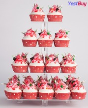 YestBuy 4 Tier Maypole Square Wedding Party Tree Tower Acrylic Cupcake Display Stand With Base (4 (10cm gap))(14 Inches)