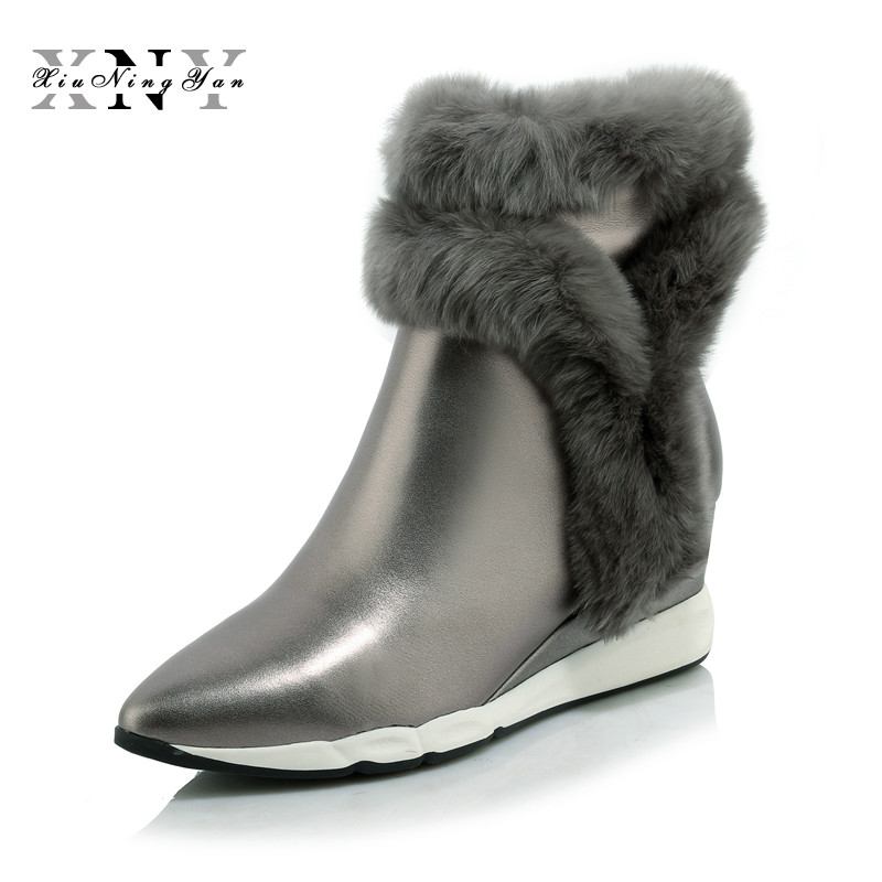 Xiuningyan Genuine Leather Rabbit Fur Shoes Woman Ankle Boots Zipper Wedges Winter Boots Pointed Toe Platform Footwear Female wetkiss 2018 genuine leather rabbit fur shoes woman ankle boots zipper wedges winter boots pointed toe platform footwear female