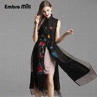 Летнее женское платье в народном стиле с цветочной вышивкой из шелковой пряжи, халат, китайское ретро платье Cheongsam, Женский комплект из двух